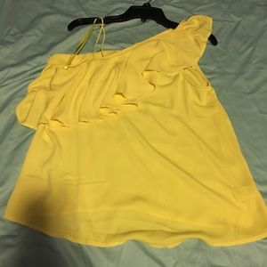 Yellow one shoulder top with ruffles